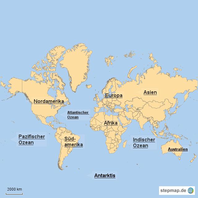 wie gro sind die kontinente und ozeane von briana landkarte f r die welt. Black Bedroom Furniture Sets. Home Design Ideas