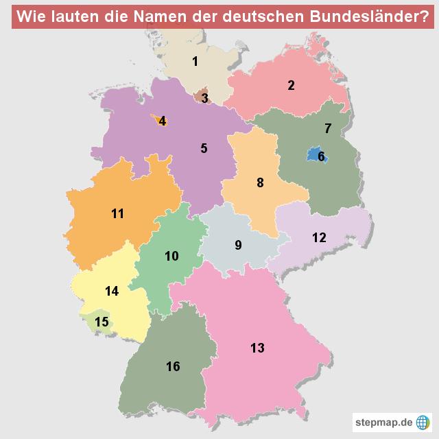 wie lauten die namen der deutschen bundeslaender von occi landkarte f r deutschland alle. Black Bedroom Furniture Sets. Home Design Ideas