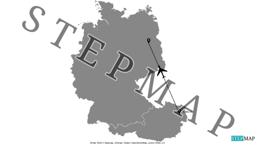 Landkarte: Wien-Berlin