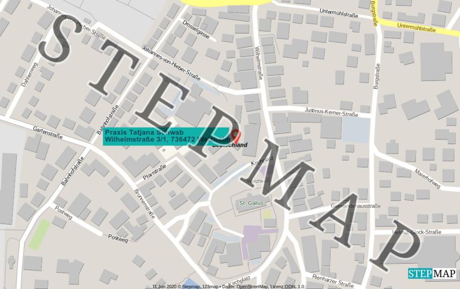 Landkarte: Wilhelmstraße Praxis Tatjana Schwab