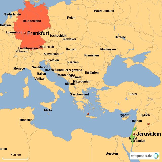 Wo liegt Israel? von Fenscheltee   Landkarte für Deutschland