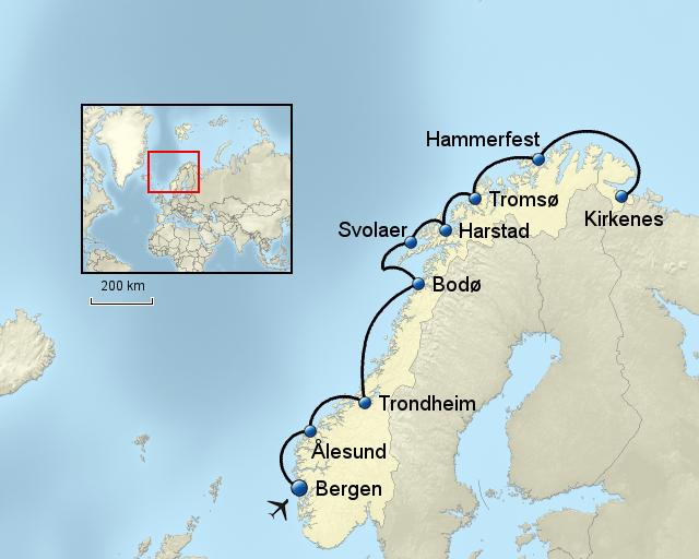 Karte Norwegen Hurtigruten.Z5601 Norwegen Hurtigruten Von Tourvital Landkarte Für Norwegen
