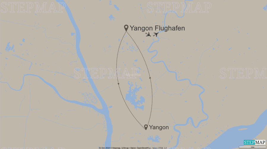 Landkarte: Zeitreise durch Rangun / 10024