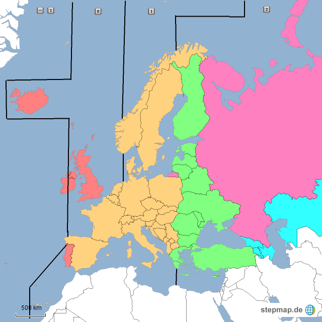 zeitzonen europa karte