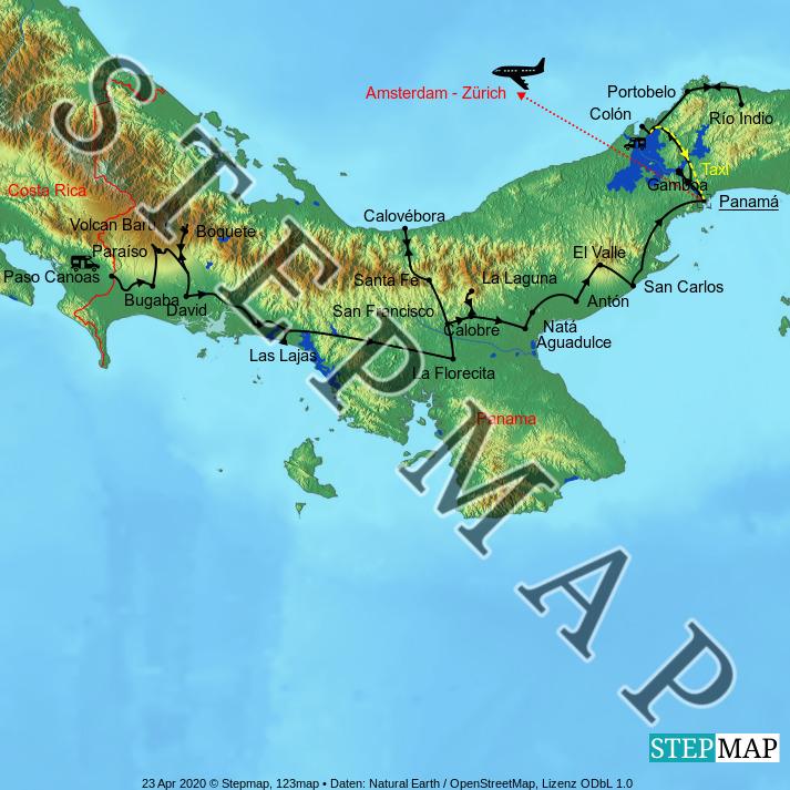 Landkarte: Zentralamerika