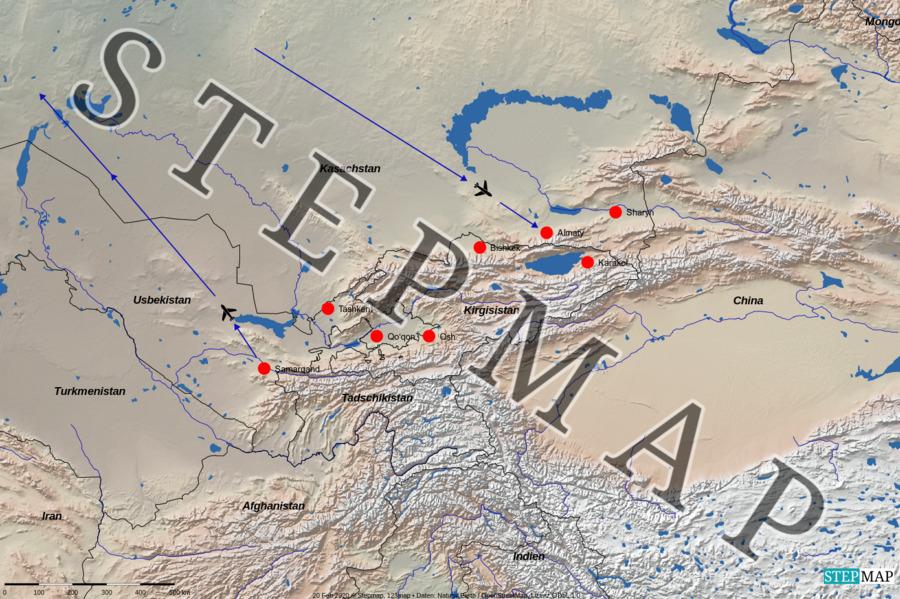 Landkarte: Zentralasien a1