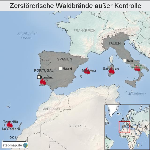 waldbrände italien karte Zerstörerische Waldbrände außer Kontrolle von otz_online