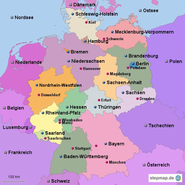 zitas deutschlandkarte von flienau landkarte f r deutschland alle bundesl nder. Black Bedroom Furniture Sets. Home Design Ideas